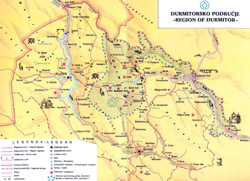 Карта региона Дурмитор